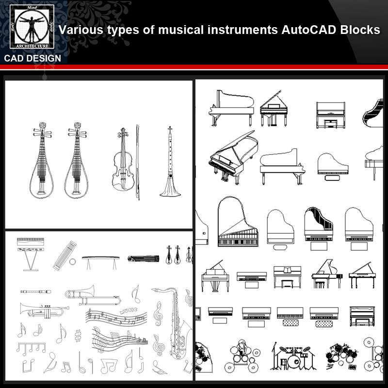 ★【Various types of musical instruments Autocad Blocks】All kinds of musical  instruments CAD blocks Bundle