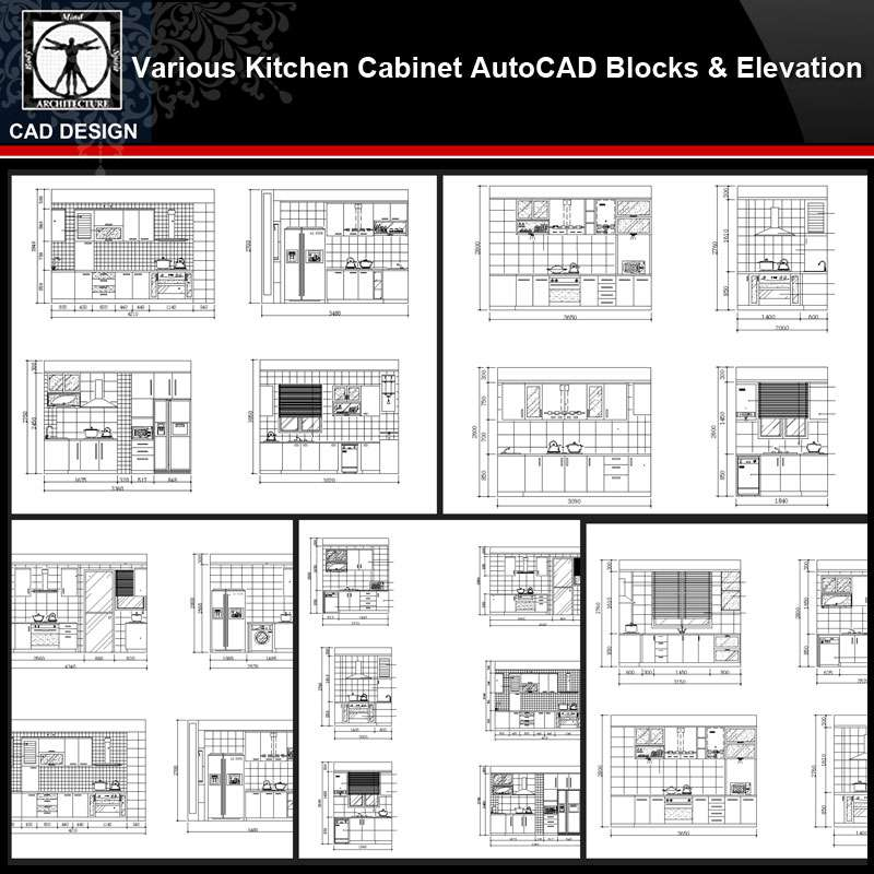 Various Kitchen Cabinet Autocad Blocks & Elevation V.1】All