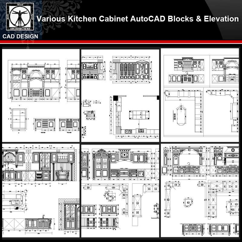 Various Kitchen Cabinet Autocad Blocks & Elevation V.3】All