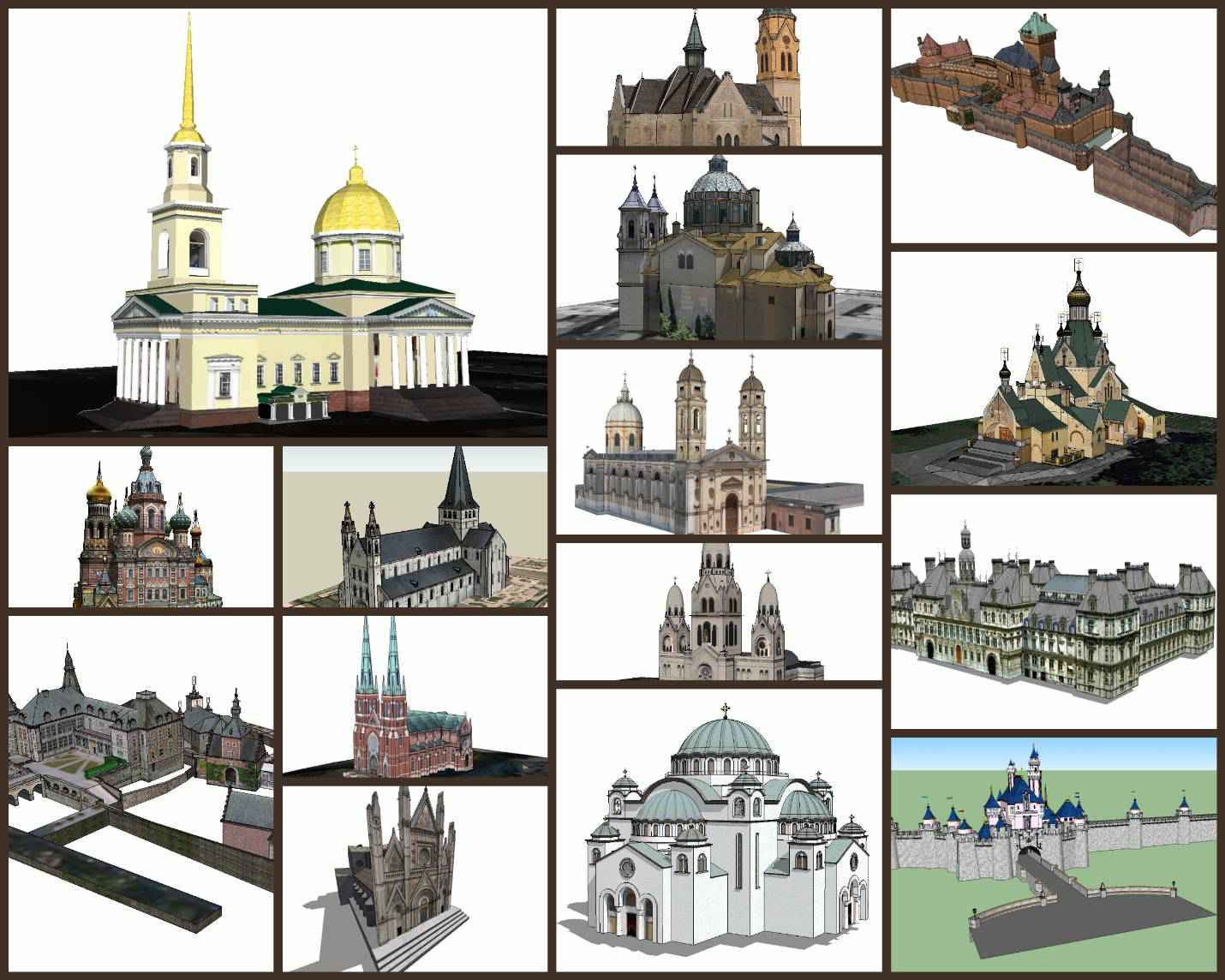 💎【Sketchup Architecture 3D Projects】15 Types of Castle Design Sketchup 3D Models V3