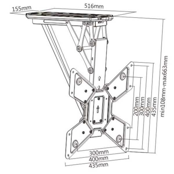 "ECM544 Electric Motorized Flip Down Ceiling Bracket, Universal 21""-55"", up to VESA400x400, 30kg"