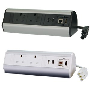 DP14S2U2HL Desktop Power Extension 2x Individually-fused Sockets 2x USB 1x Ethernet 1x HDMI 2m GST18/3 Cable