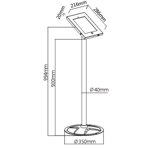 Brateck PAD12-02A Steel Security iPad Kiosk Floor Stand dimensions diagram