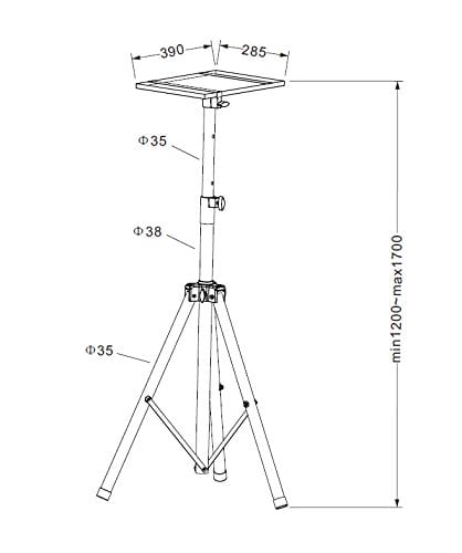 AVET750 Universal Projector Tripod Stand Height 115-180cm Tray: 40x30cm