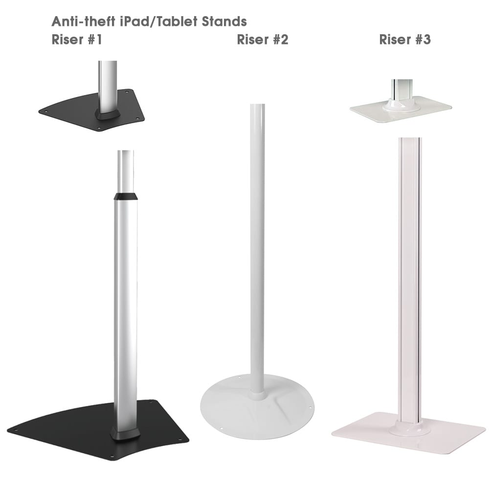 anti-theft secure ipad tablet stands riser styles differences