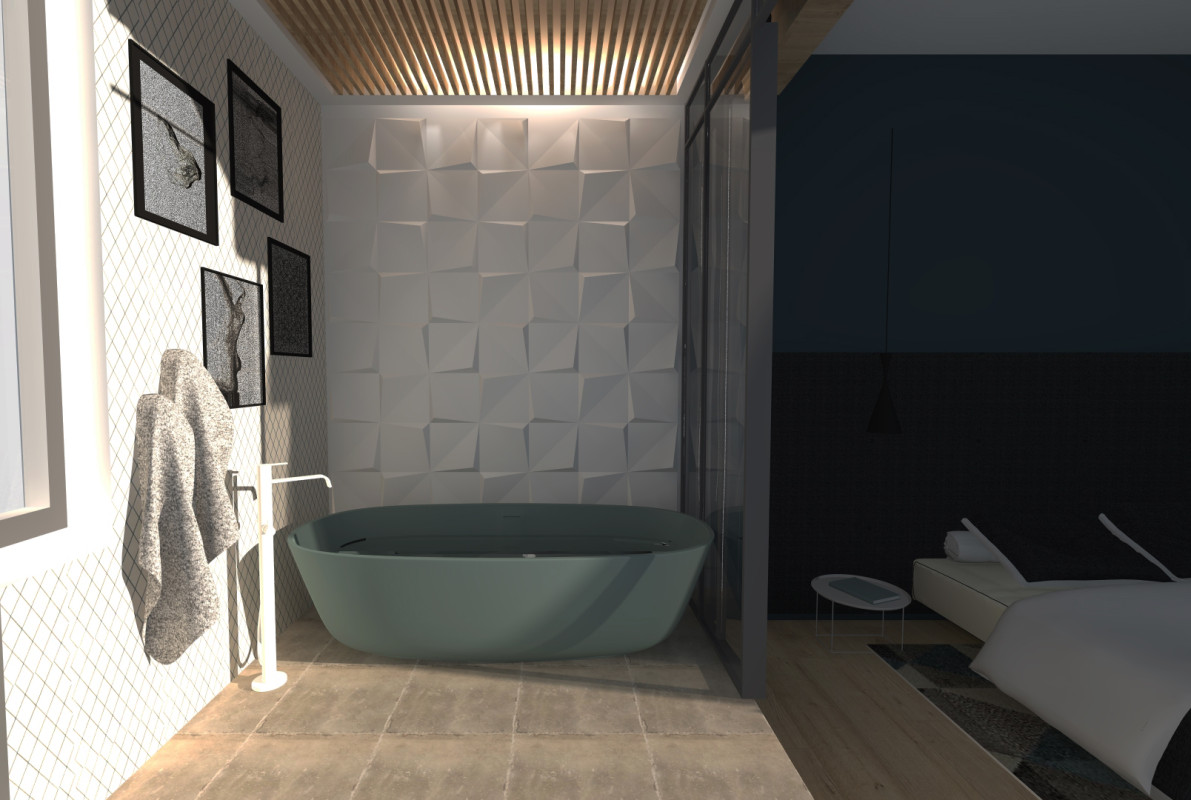 Photos une salle de bain de suite parentale au design glamour