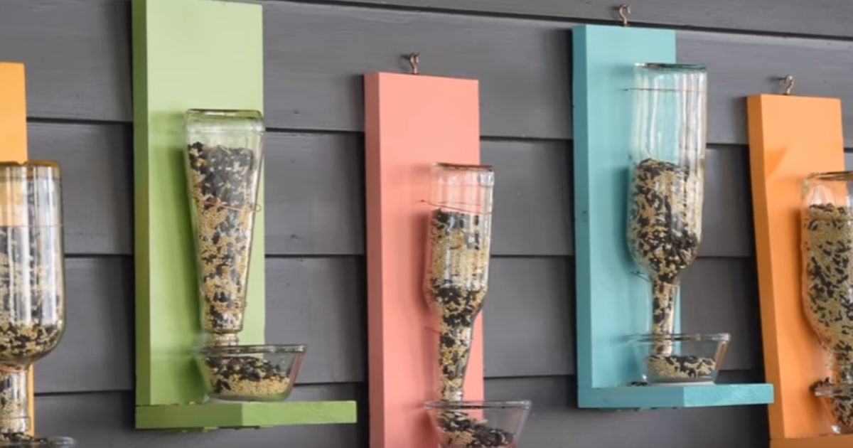 DIY Bird Feeder Upcycles Scrap Wood And Used Glass Bottles