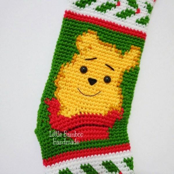 Winnie Pooh Christmas Stocking Crochet Pattern