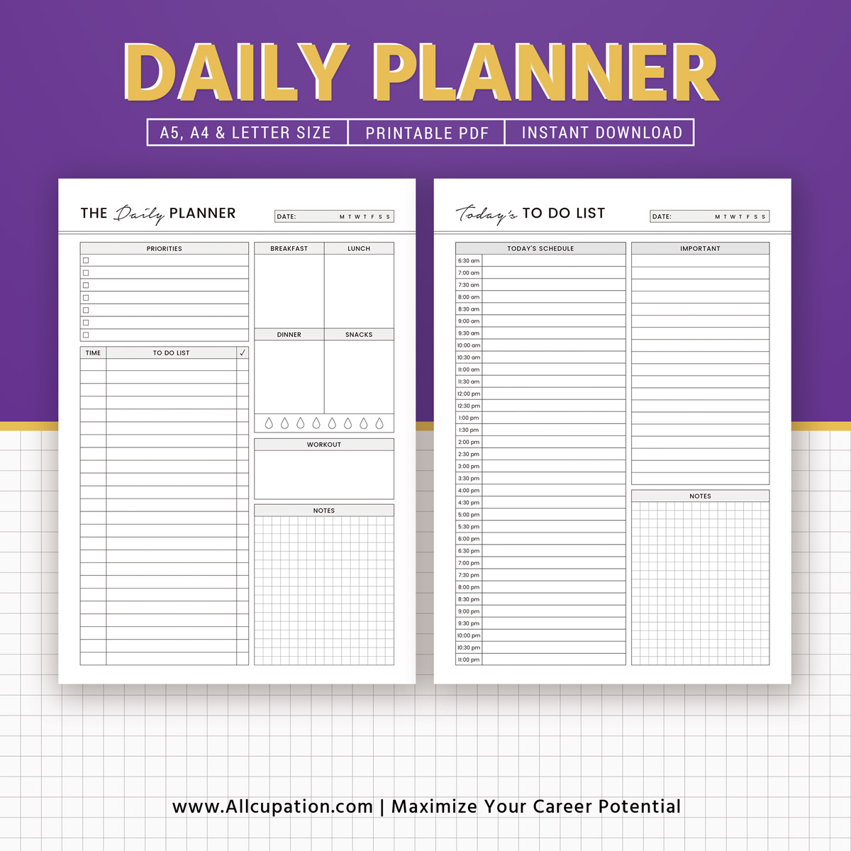 Daily Planner Daily Schedule To Do List Printable