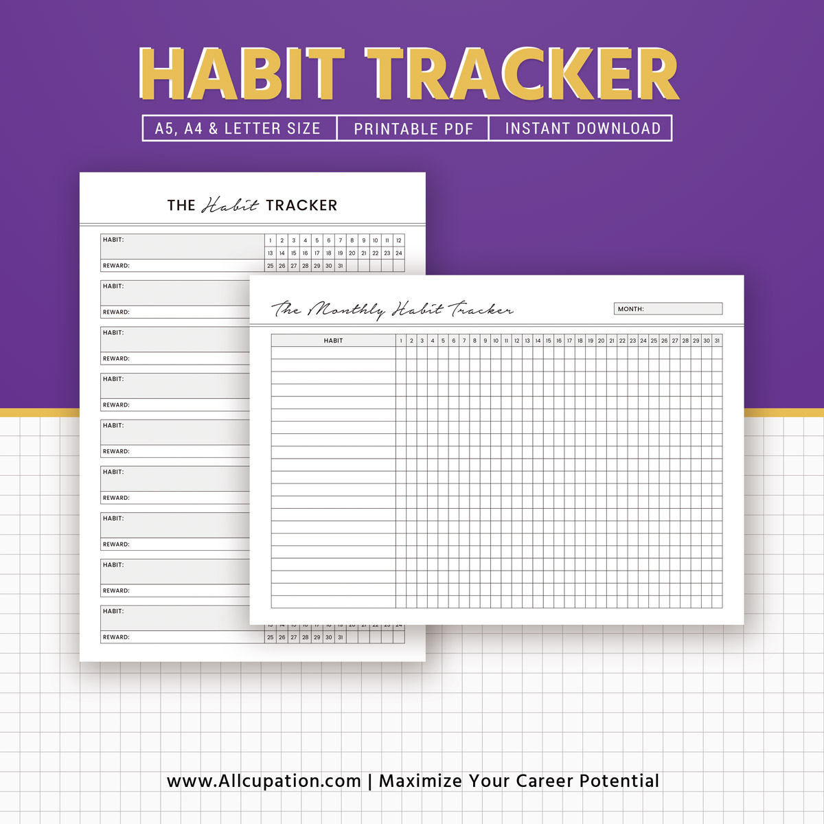 Printable Habit Tracker Monthly Habit Tracker Inserts Habit Planner Planner Design Best