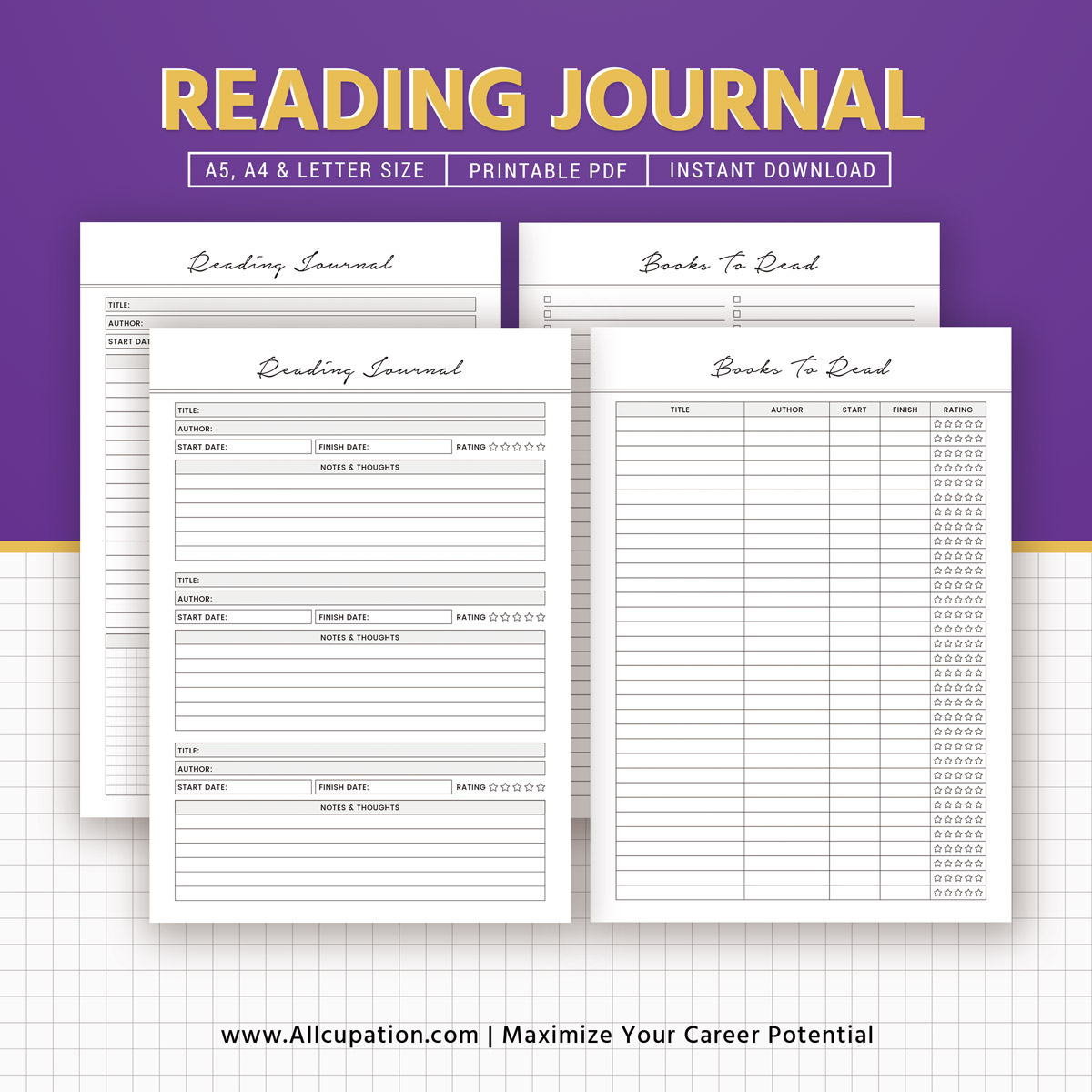 Reading Journal Books To Read Reading Log Book Review Printable Books Planner Planner