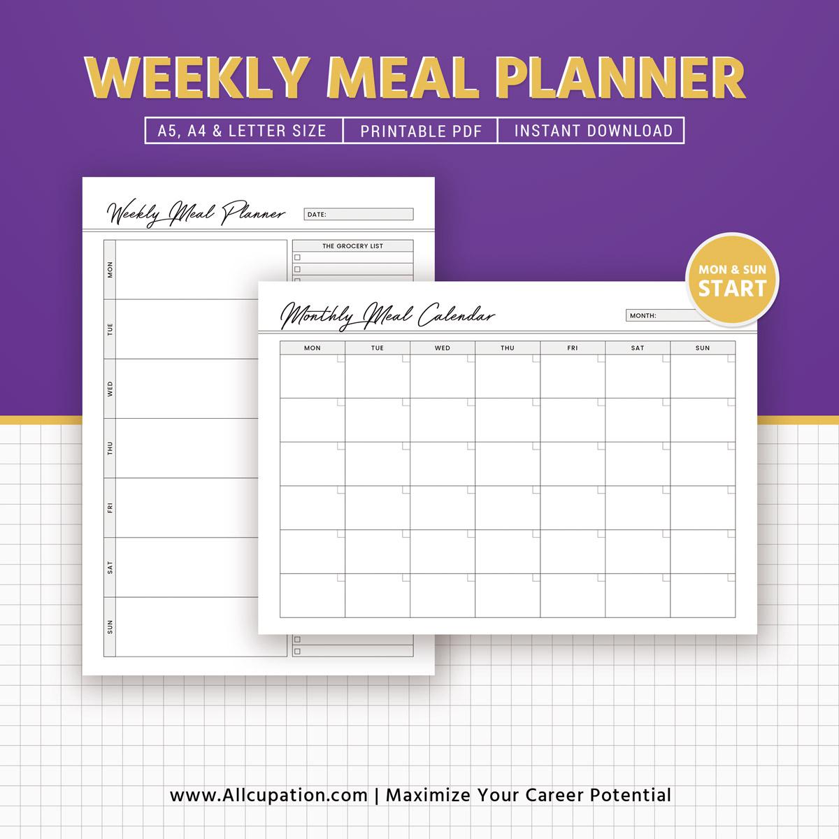 Weekly Meal Planner Inserts, Menu Planner Printable, Meal Calendar ...