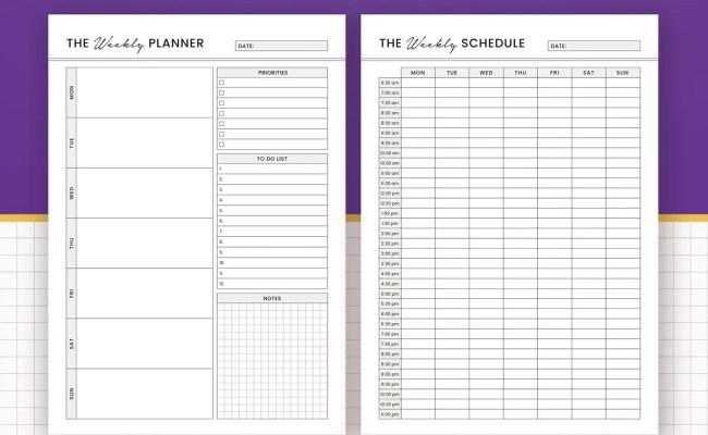 Printable Weekly Planner 2020 Weekly Schedule Weekly