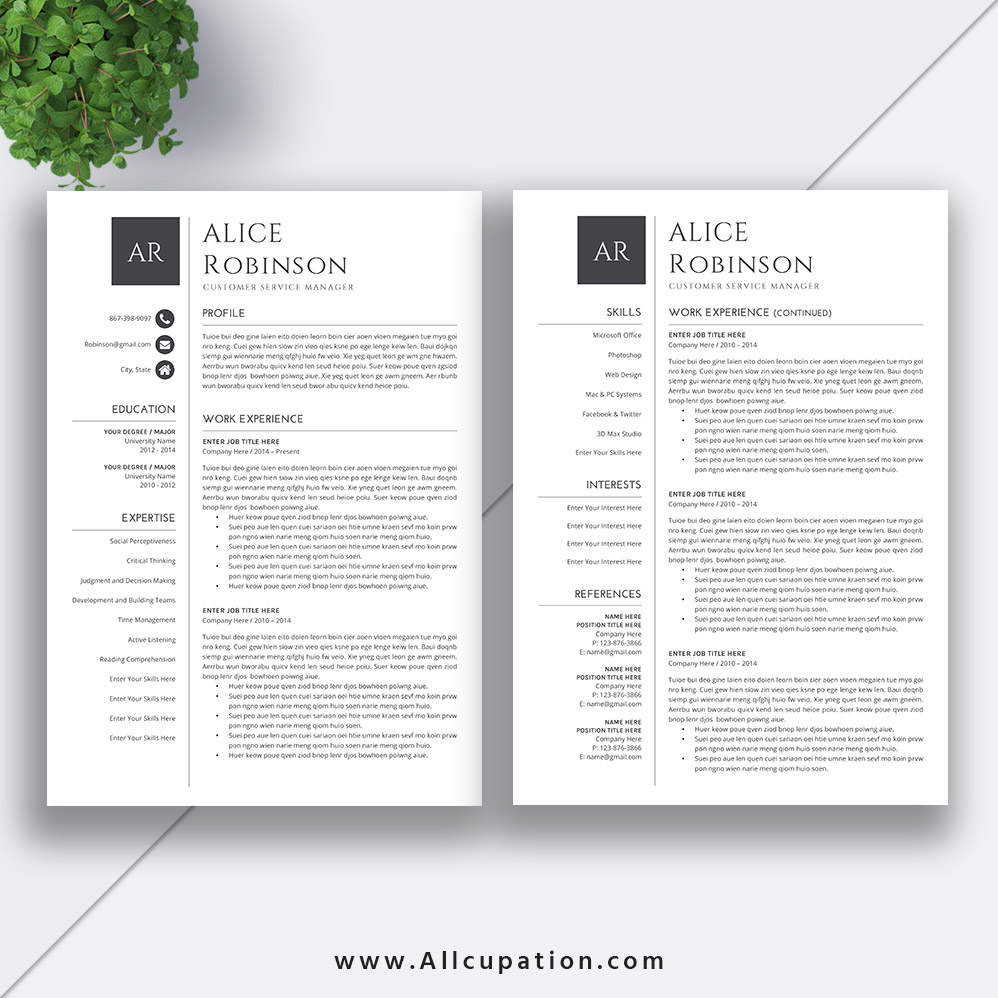 Simple CV templates forJob Application Resume Template
