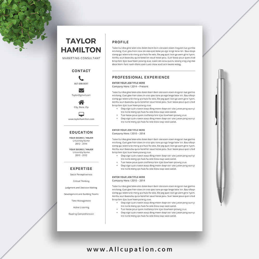Modern One Page Resume Template. Creative Resume Template