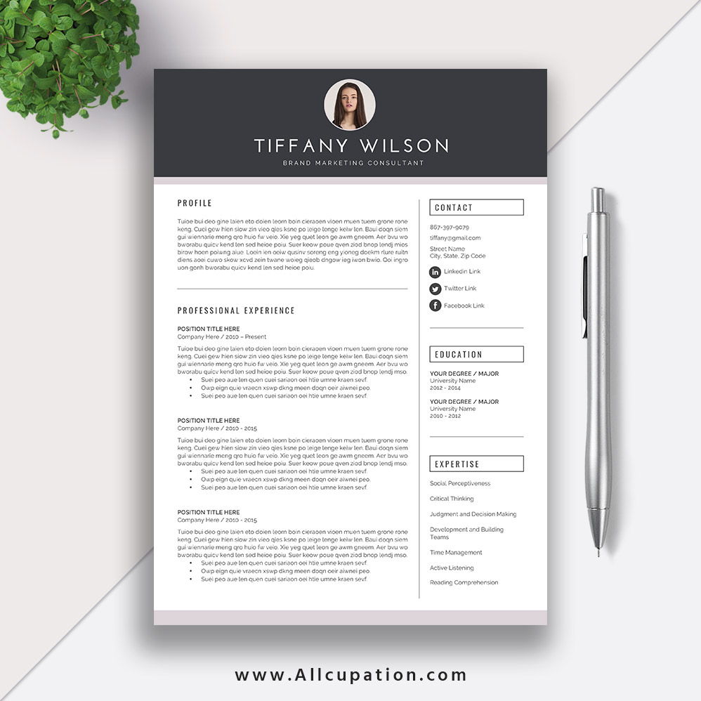 Creative Resume Template, Cover Letter, Word, Modern Simple Teacher Resume,  Instant Download, Mac or PC, TIFFANY
