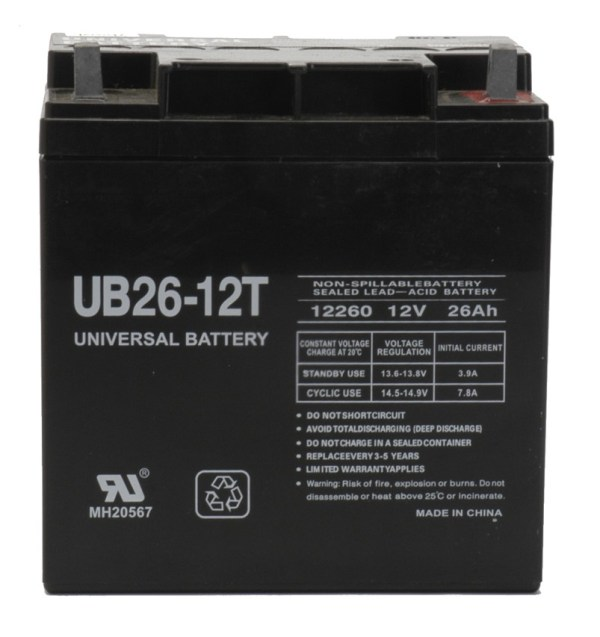 Universal Power Group 40596 12v 26ah Battery Ub26-12t Tall