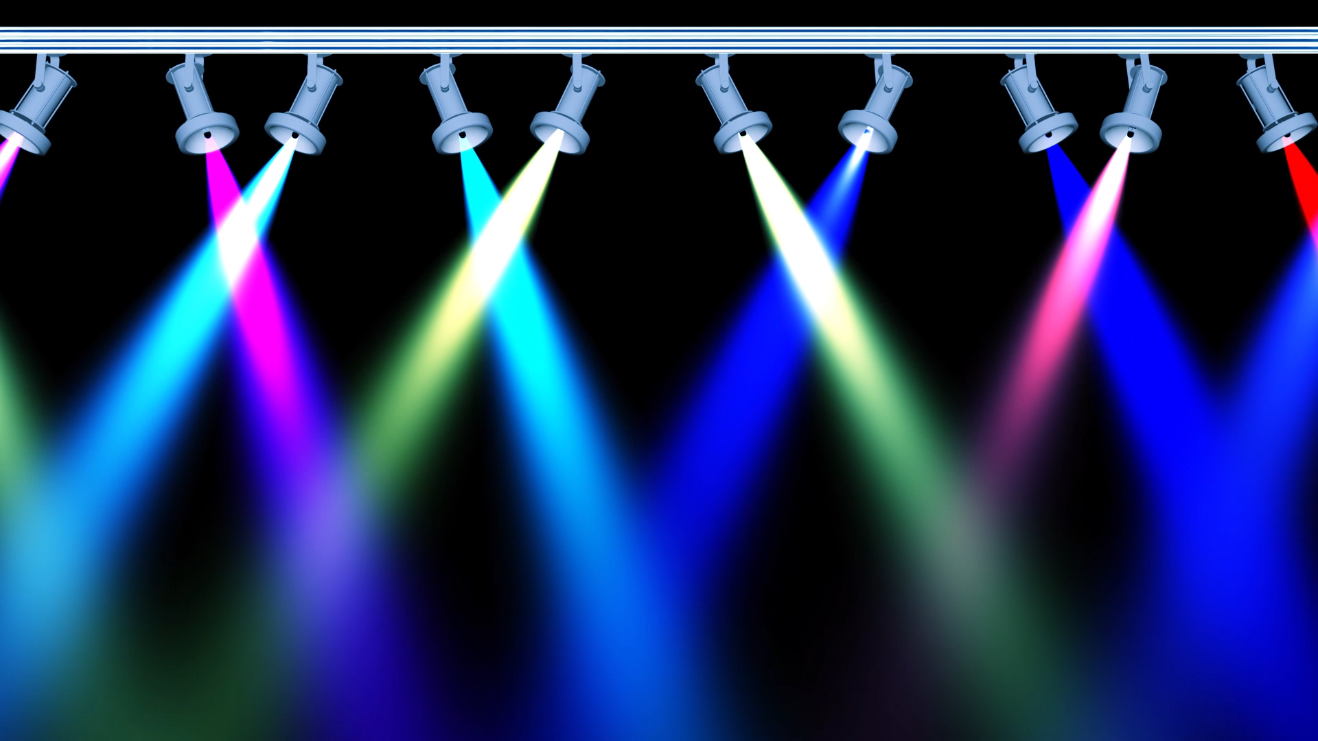 Concert Stage 10 Lights Loop with Different Colours Animation in Black Screen Background Effects