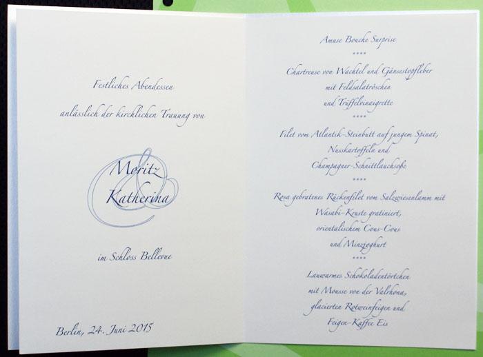 Schriftart Menuekarte Hochzeit