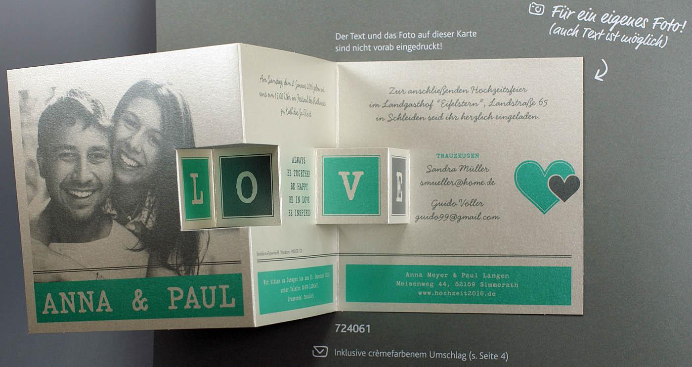 Blankokarte Leporello perlmuttmetallic Einladungskarte