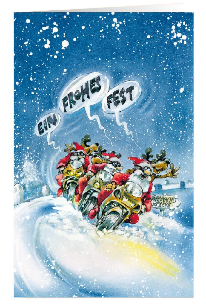 Weihnachtskarte Branchenkarte Motorrad Weihnachtsrallye