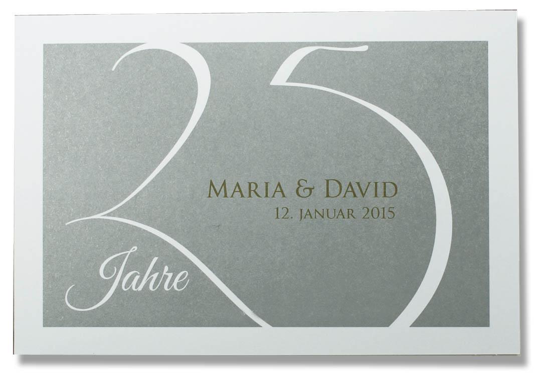 Einladungskarte zur Silberhochzeit weie 25 silber Hintergrund  sonstige Anlsse