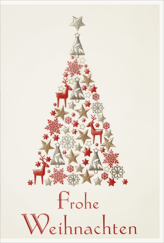Weihnachtskarte Frohe Weihnachten mit Weihnachtsbaum aus