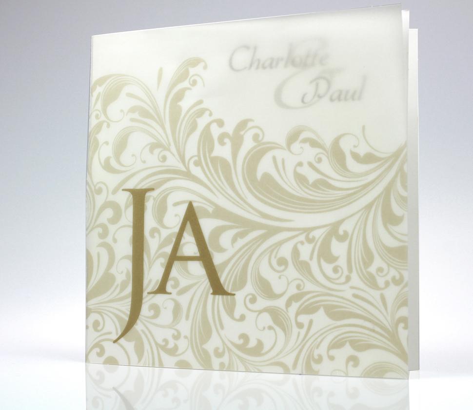 Hochzeitskarte pr8722156 Transparentpapier Barockmuster