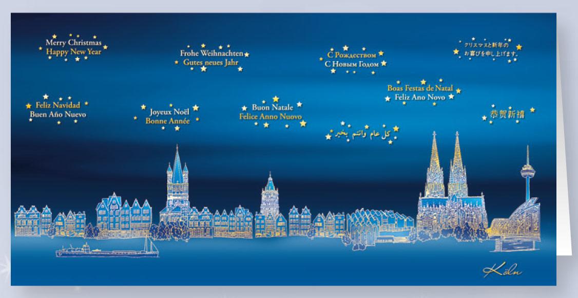 Weihnachtskarte internationale Gre aus Kln rawdl11929