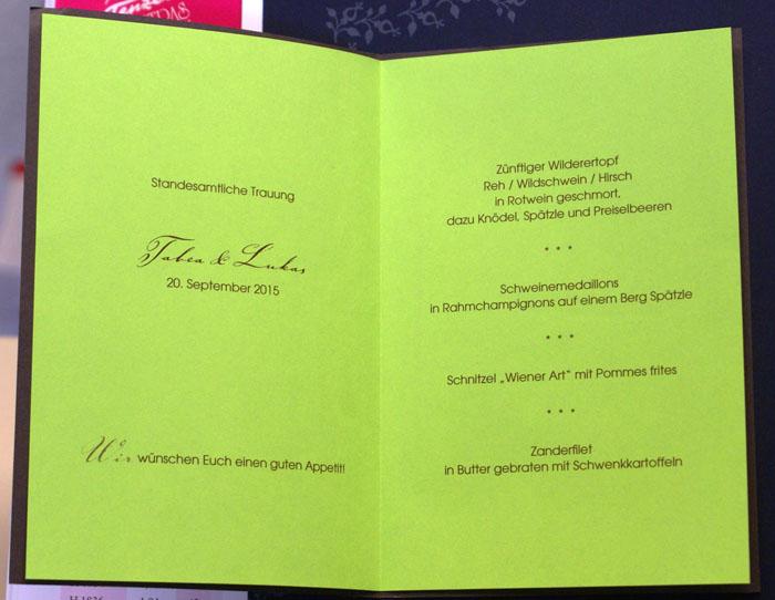 Menkarte dunkelbraun grn Ornament fzm5870  sonstige Anlsse  Goldene Hochzeit 50 Jahre