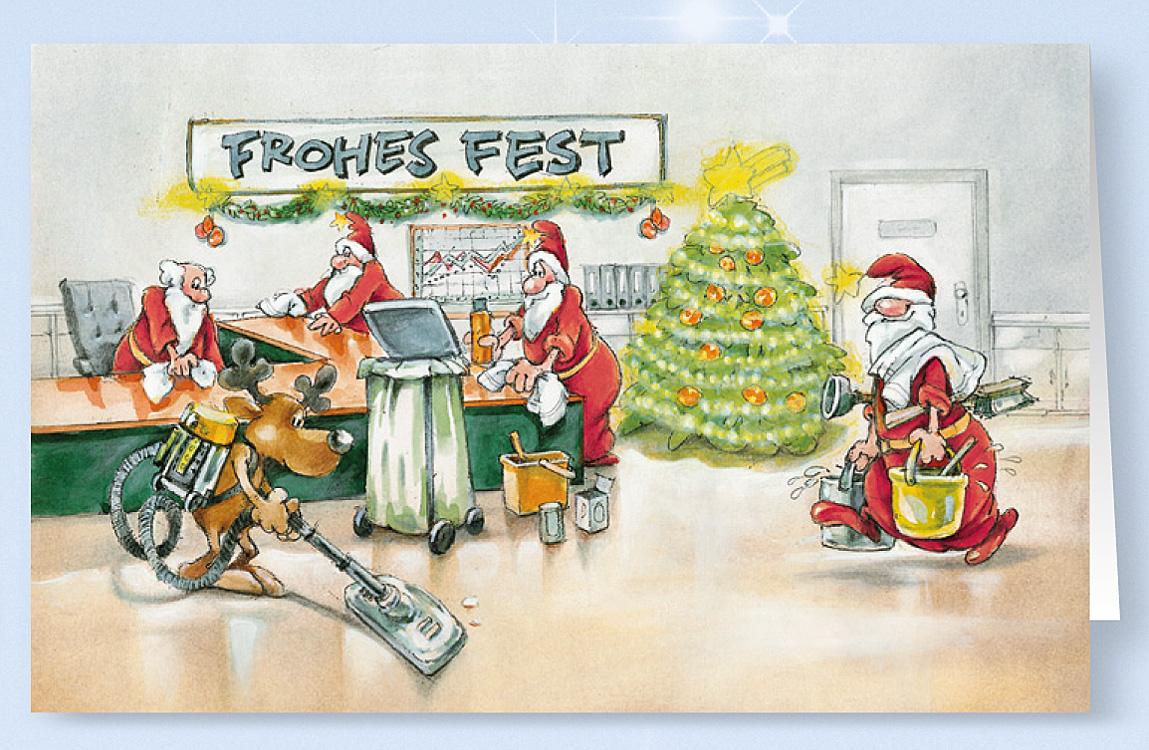 Weihnachtskarte Branchenkarte Raumpflege Reinigungsdienst