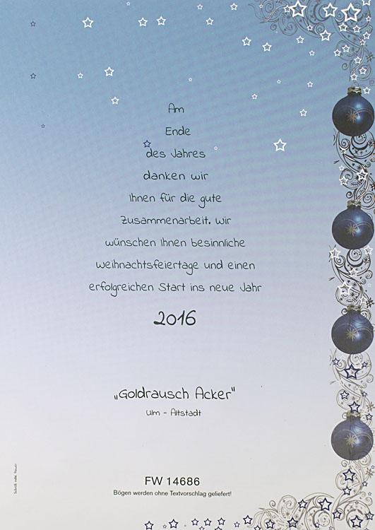 Weihnachtsbrief blau Verlauf mit Weihnachtskugeln und