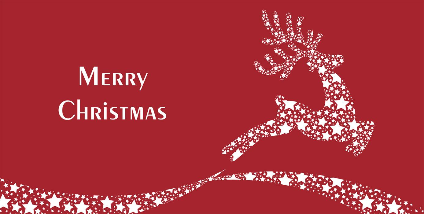 Weihnachtskarte rot mit weiem Text und springendem