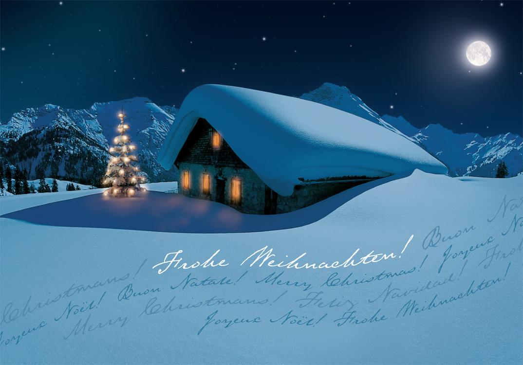 Weihnachtskarte in nchtlicher Gebirgslandschaft mit