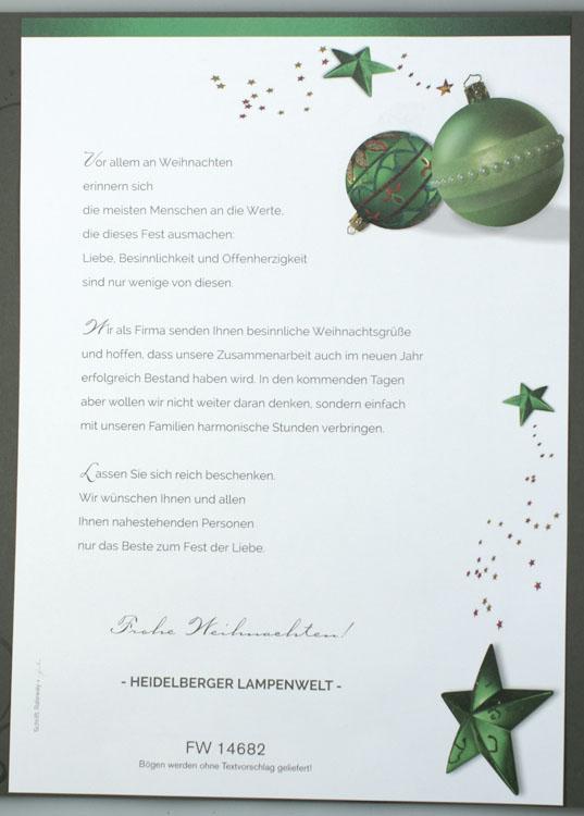 Weihnachtsbrief grnlich mit Sternen und Weihnachtskugeln