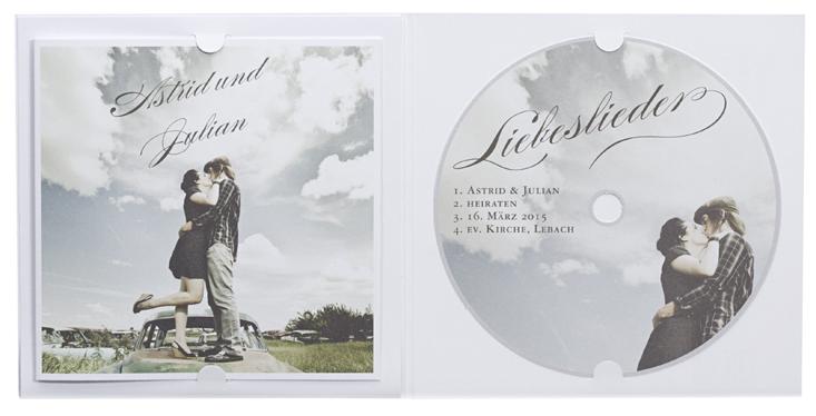 Hochzeitskarte in Form eines CD Albums mit Booklet und Fotodruck  Hochzeitskarten