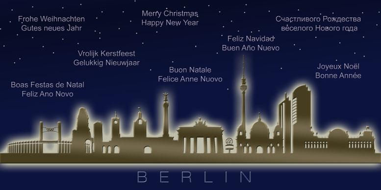 Weihnachtskarte nachtblau Berlin Skyline internationale Gre  Weihnachten  Weihnachtskarten