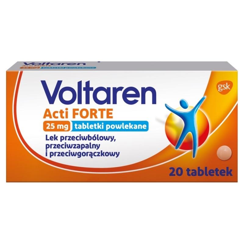 Voltaren ACTI Forte 25 mg 20 tabletek powlekanych - kości. stawy. reumatyzm - Ból - Leki/Schorzenia - Allecco.pl