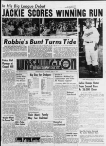 Microfilm frame of front page of Pittsburgh Courier (Washington Edition), April 19, 1947