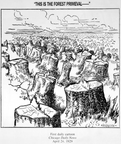 "Herblock's political cartoon, ""This is the Forest Primeval –"""