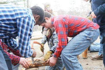 boys camp, learning new skills
