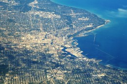 The city of Milwaukee on the western coast of Lake Michigan uses the lake for its drinking water. But just 17 miles to the west, the city of Waukesha is prohibited from using Great Lakes water unless it gets permission from the eight Great Lakes states. Photo: Ron Reiring via Flickr