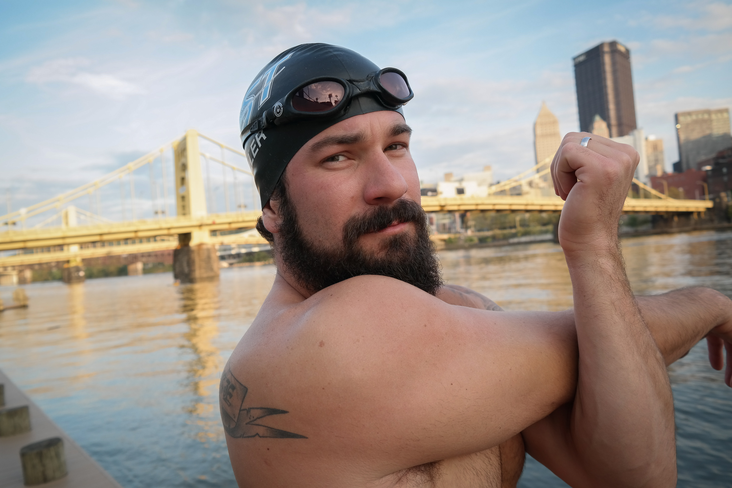 This Guy Isn't Shy About Swimming in Pittsburgh's Three