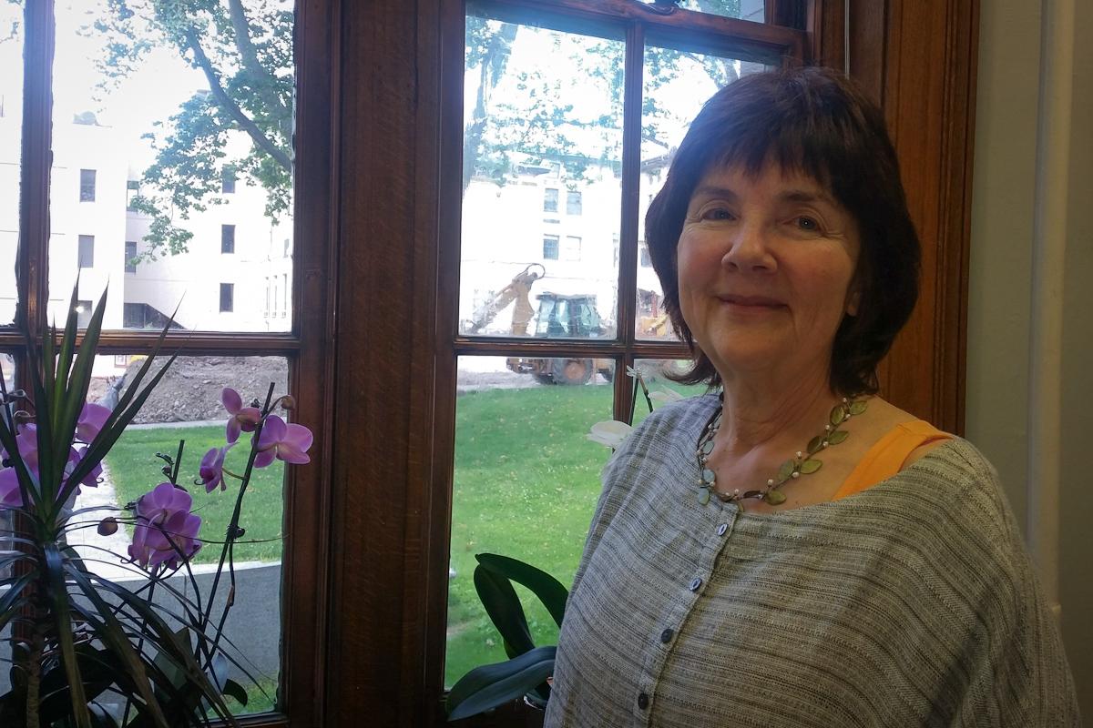 Researcher Elizabeth Casman at her CMU office