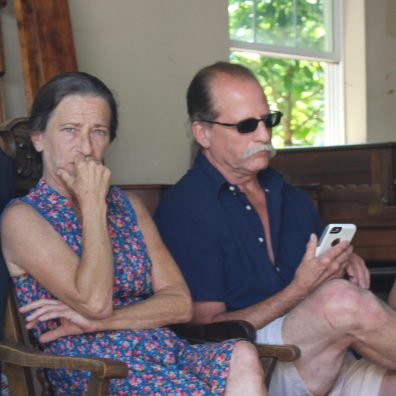 Jodi Carter and Jeff Bond waiting for their property to be auctioned off. Photo: Brian Peshek