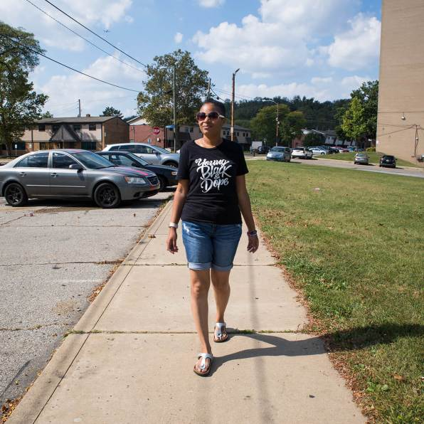 Olivia Bennett on Mt. Pleasant Road in Pittsburgh's Northview Heights neighborhood. Bennett won the Nov. 5 election for the District 13 seat on the Allegheny County Council. Photo: Njaimeh Njie
