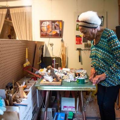 "Elizabeth ""Betty"" Asche Douglas is an art-culture historian, retired professor, artist and jazz performer. Here she is pictured in her studio in Rochester, Pa. Photo: Njaimeh Njie"