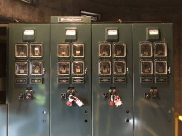 Large, dated electrical switchgear boxes sit inside Pump Station Number Six in Ironton, Ohio. Photo: Liam Niemeyer, Ohio Valley ReSource