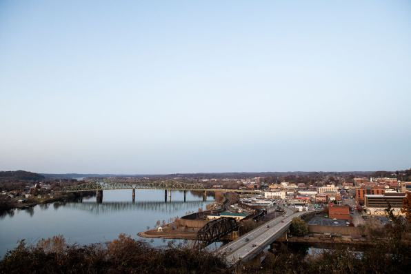An aerial view of Parkersburg, West Virginia, taken from Fort Boreman Park. Photo: Lexi Browning/100 Days in Appalachia