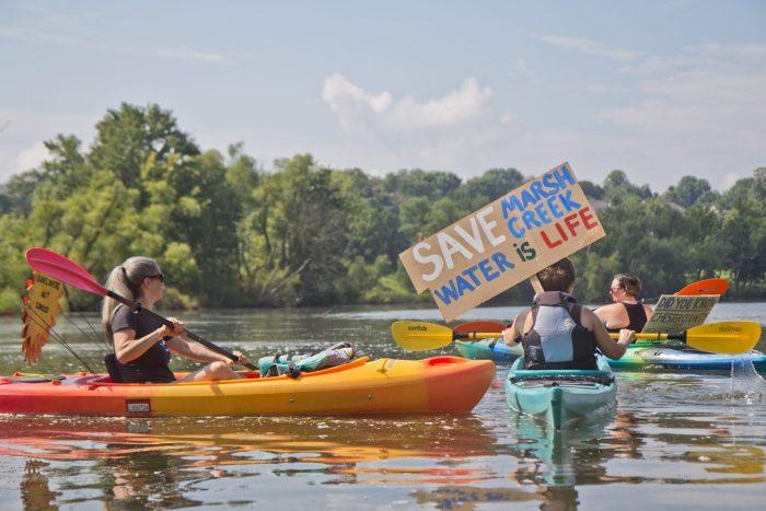 Protestors at Marsh Creek Lake